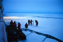 Collecting ice cores to collect biological samples.