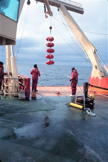 Preparing to deploy mooring floats for current and sediment studies from theNATHANIEL B. PALMER.