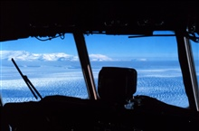 The view from the cockpit of the C-130 on the way to McMurdo.Transantarctic Mountains in view.