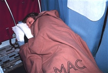 Noah White, the Antarctic radio operator, takes a well-deserved rest.  Homewardbound after 12 months at the South Pole.