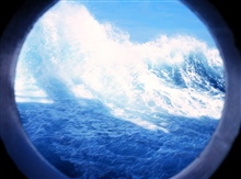 Waves breaking as seen from a porthole on the 0-1 Deck of the NATHANIEL B.PALMER.  Crossing the Southern Ocean.