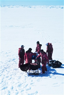Antarctic beach party and barbecue.