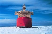 Bow shot of National Science Foundation, Research Ice Breaker NATHANIEL B.PALMER during a stop in the sea ice for sea ice sampling.