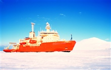 The National Science Foundation, Research Ice Breaker NATHANIEL B.PALMER during a stop in the sea ice for sea ice sampling.