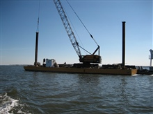 Salvage and removal barge in Bay of Biloxi, MS