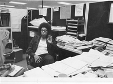 Lena Loman in her workstation at the NMC in Camp Springs, MD
