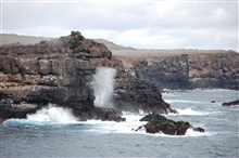 The Punta Suarez blowhole as seen from seaward of Espagnola Island.
