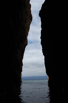 Looking out from the interior of a small cave