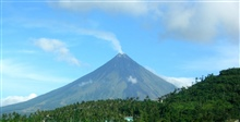 Active volcano Mount Mayon as seen from the Legaspi Airport.