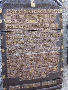 Plaque at the entrance to the chapel in the Intramuros of Manila.