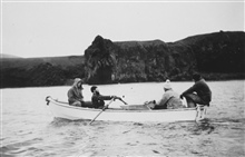 Row, row, row, your boat ....Topo party landing -Stanley Ohlin, Dagle at oars, Wagner, and Dryman.