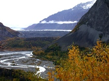 Looking towards a glacier with its braided outwash stream below.
