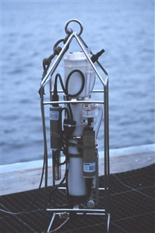 A CTD instrument ready for deployment.