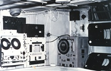 Various depth-recording devices on right and navigation gear on left.  In theplot room of the Coast and Geodetic Survey Ship EXPLORER.