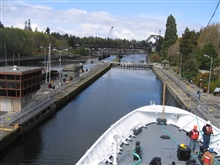 NOAA Ship FAIRWEATHER entering the Hiram M. Chittenden Locks of theLake Washington Ship Canal outbound.
