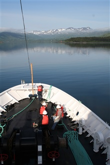 NOAA Ship FAIRWEATHER approaching Kodiak Harbor.