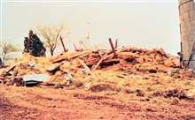 Damage to a farm caused by an April, 1978 Newkirk, Oklahoma tornado.