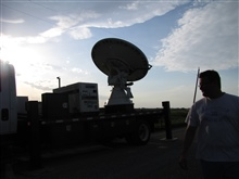 NOAA/NSSL X-Pol Mobile radar scanning before the storm.