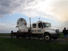 NOAA/NSSL X-Pol Mobile radar ready for operation.