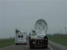 The field command vehicle passing the SMART-R radar outside of Canute,Oklahoma, on I-40 heading towards Texas.