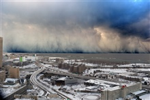 A wall of intense snowfall desending on the Buffalo Southtowns during the firstof two historic back-to-back lake-effect snow events in November 2014.