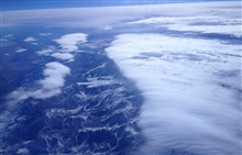 Flying over the Sierra Nevada mountains, a textbook case ofof upslope flow on the windward (right/west) side of the mountains
