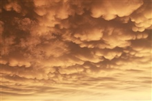 Mammatus clouds at sunset in Lusk, Wyoming.