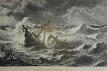 Depiction of Ship Amazon caught and sinking in the hurricane of October 10, 1871. In: L'Atmospher Populaire by Camille Flammarion.  1888.  Call No.MF581a.