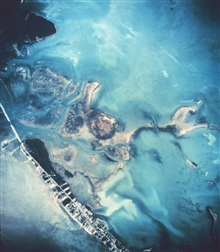 Aerial photograph of shoreline and islands in Florida Keys.
