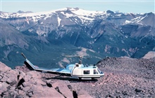 Bell UH-1M in Katmai National Monument supporting University of Alaskaseismic studies.