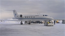 NOAA Gulfstream IV at Anchorage airport between flights of Winter StormsReconnaissance missions over the North Pacific Ocean.