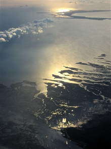 Islands seen at dawn during Hurricane Karl mission.