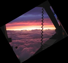 Sunset seen from cockpit during Hurricane Cristobal mission.