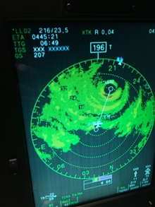 P-3 radar view as plane navigates toward eye of storm.