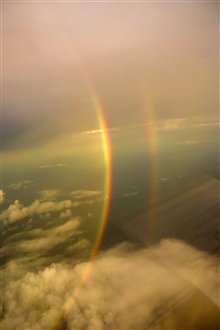 A double rainbow seen from a NOAA P-3 hurricane hunter.