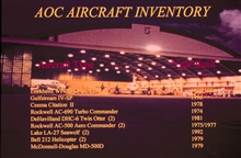 NOAA hangar at MacDill Air Force Base with listing of AOC AircraftInventory.