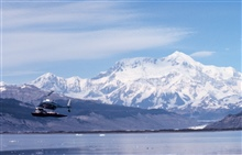 Lieutenant Terry Laydon flying Bell 206 during Icy Bay current studies.  Mt. St.Elias in background.