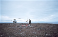 Geodimeter target set up on Alaska Peninsula.  Transportation by Bellhelicopter.