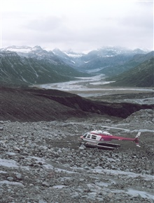 Leased Bell 206 on Redoubt Volcano during seismic observation surveys byUniversity of Alaska for OCSEAP.