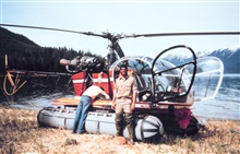 Contract helicopter transporting NOAA geodetic surveyors in southeast Alaska.