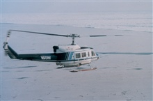 NOAA Bell 212 flying over North Slope of Alaska approaching the ice of theBeaufort Sea.