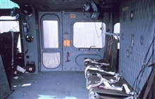 Interior of NOAA helicopter showing cargo and passenger carrying area.