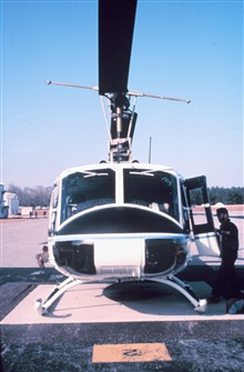 NOAA helicopter on ground.