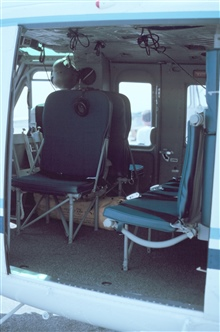 Interior of helicopter.  Passenger and cargo transport compartment.