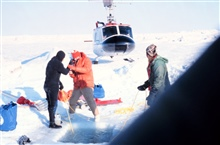 Helicopter supporting under-ice dive operations in the Beaufort Sea.