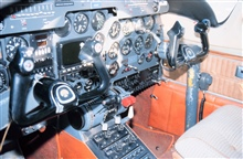 Cockpit and control panel of NOAA Rockwell International 500-S Shrike Commanderused for snow survey.