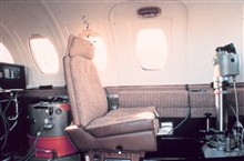 Photographer's station in cabin of NOAA Cessna 550 Citation II used forphotogrammetric missions and remote sensing.