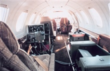 Looking forward from cabin of NOAA Cessna 550 Citation II used forphotogrammetric missions and remote sensing.
