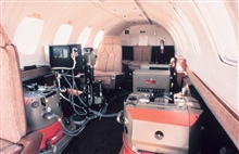 Looking aft in cabin of NOAA Cessna 550 Citation II used forphotogrammetric missions and remote sensing.