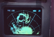Radar display of Typhoon Rosa center.